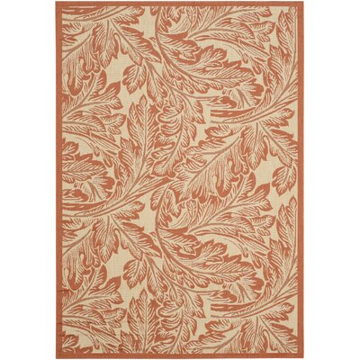 Amaryllis Natural/Terracotta Outdoor Area Rug Rug Size: Rectangle 2 x 37