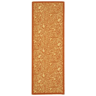 Amaryllis Natural/Terracotta Outdoor Area Rug Rug Size: Runner 24 x 67
