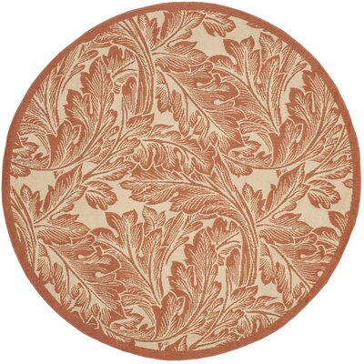 Amaryllis Natural/Terracotta Outdoor Area Rug Rug Size: Round 53