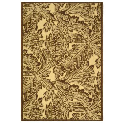 Amaryllis Natural/Chocolate Outdoor Rug Rug Size: 53 x 77