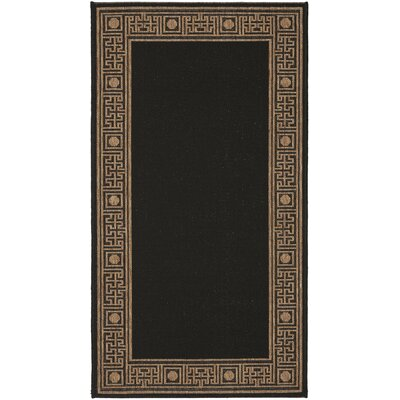 Amaryllis Black/Coffee Indoor/Outdoor Rug Rug Size: Runner 27 x 82