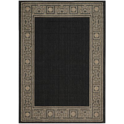 Amaryllis Black/Coffee Indoor/Outdoor Rug Rug Size: 53 x 77