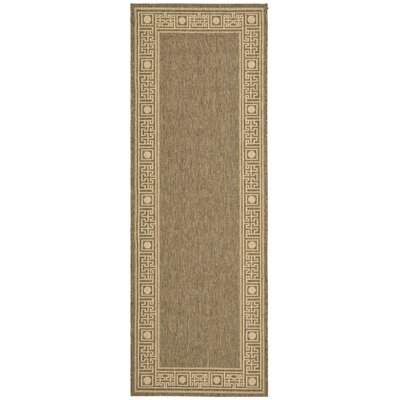 Amaryllis Coffee/Sand Outdoor Rug Rug Size: Runner 24 x 67