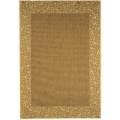 Amaryllis Leaves Border Brown/Natural Indoor/Outdoor Area Rug Rug Size: Rectangle 53 x 77