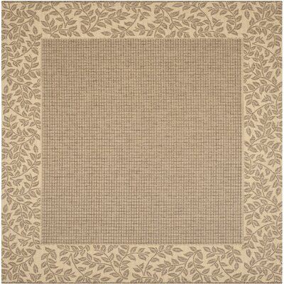 Amaryllis Leaves Border Brown/Natural Indoor/Outdoor Area Rug Rug Size: Square 67