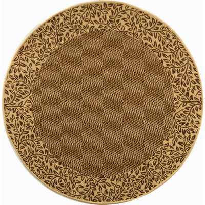Amaryllis Leaves Border Brown/Natural Indoor/Outdoor Area Rug Rug Size: Round 53