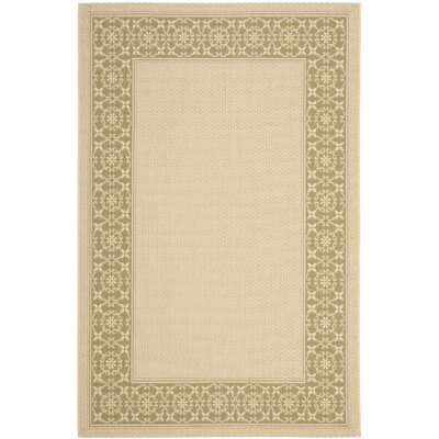 Amaryllis Cream/Green Floral Indoor/Outdoor Rug Rug Size: 53 x 77