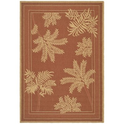 Amaryllis Light Brick Outdoor Rug Rug Size: 53 x 77