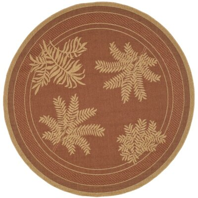 Amaryllis Light Brick Outdoor Rug Rug Size: Round 67