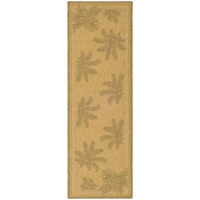 Amaryllis Natural/Gold Outdoor Rug Rug Size: Runner 27 x 5