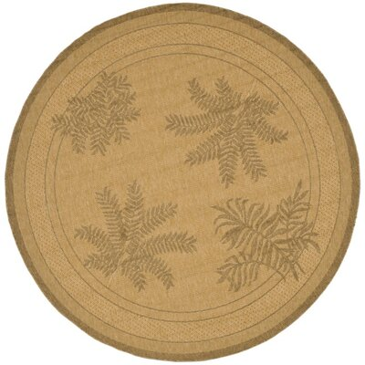 Amaryllis Natural/Gold Outdoor Rug Rug Size: Round 67