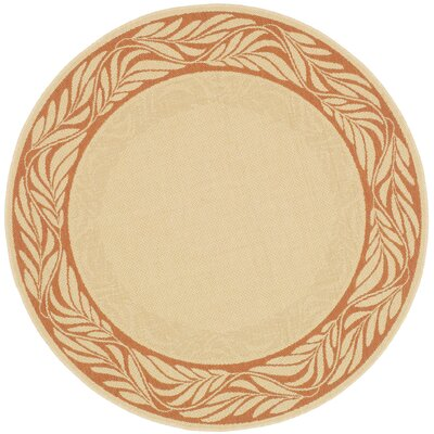 Amaryllis Tan/Red Outdoor Area Rug Rug Size: Round 67
