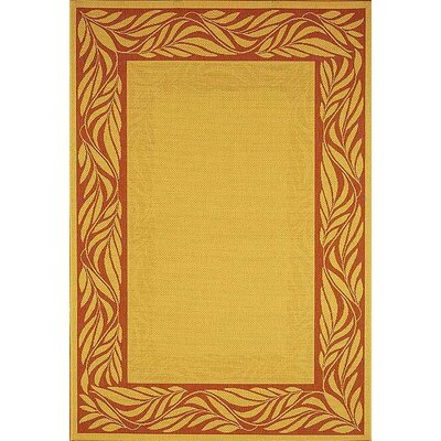 Amaryllis Tan/Red Outdoor Area Rug Rug Size: 67 x 96