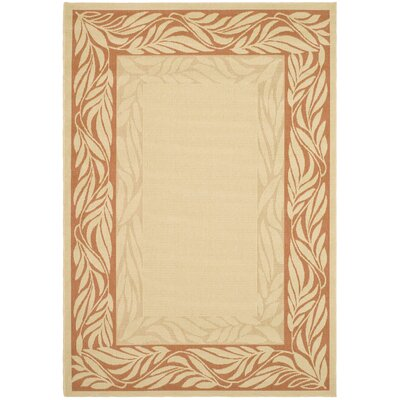 Amaryllis Tan/Red Outdoor Area Rug Rug Size: Rectangle 4 x 57