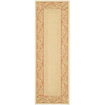Amaryllis Tan/Red Outdoor Area Rug Rug Size: Runner 27 x 5