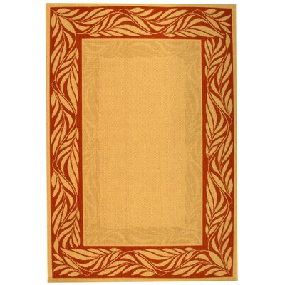 Amaryllis Tan/Red Outdoor Area Rug Rug Size: 53 x 77