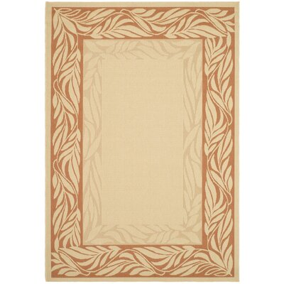 Amaryllis Tan/Red Outdoor Area Rug Rug Size: Rectangle 710 x 11