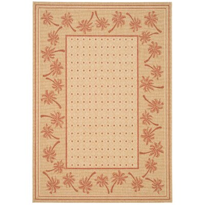 Amaryllis Ivory/Rust Outdoor Rug Rug Size: Rectangle 53 x 77