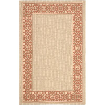 Amaryllis Cream/Terracotta Indoor/Outdoor Rug Rug Size: 53 x 77