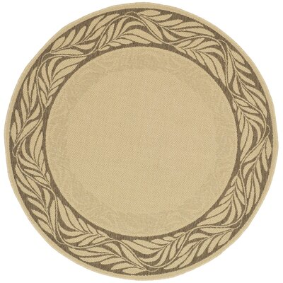Amaryllis Brown / Tan Outdoor Area Rug Rug Size: Round 67