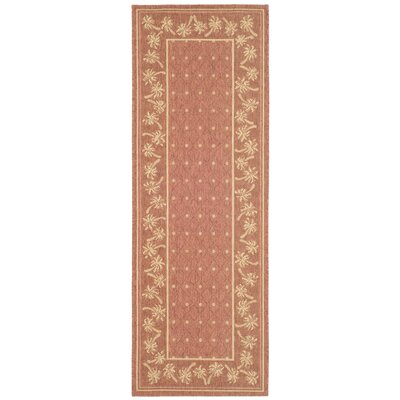 Amaryllis Powerloomed Rust/Sand Outdoor Rug Rug Size: Rectangle 27 x 5