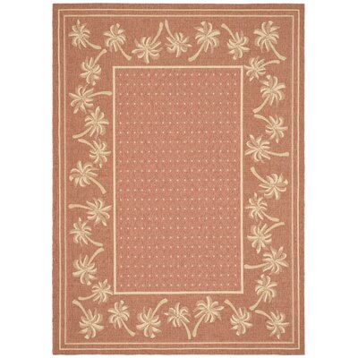 Amaryllis Powerloomed Rust/Sand Outdoor Rug Rug Size: 4 x 57