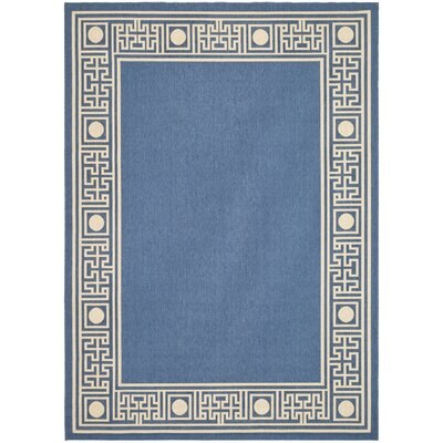 Amaryllis Blue/Beige Outdoor Rug Rug Size: Rectangle 27 x 5