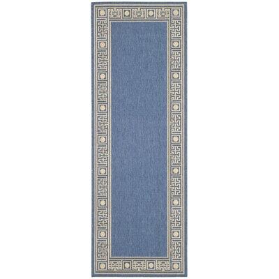 Amaryllis Blue/Beige Outdoor Rug Rug Size: Runner 24 x 67