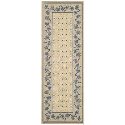Amaryllis Ivory/Blue Outdoor Rug Rug Size: Rectangle 27 x 5