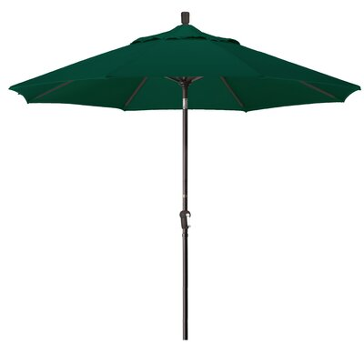 Priscilla 9 Market Umbrella Fabric: Hunter Green, Frame Finish: Champagne
