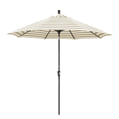 Priscilla 9 Market Umbrella Frame Finish: Champagne, Fabric: Olefin - Beige White Cabana Stripe