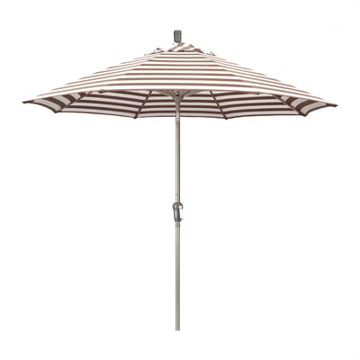 Priscilla 9 Market Umbrella Frame Finish: Bronze, Fabric: Olefin - Brick White Cabana Stripe