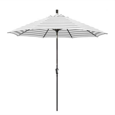 Priscilla 9 Market Umbrella Frame Finish: Champagne, Fabric: Olefin - Gray White Cabana Stripe