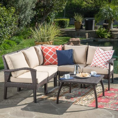 Timberwyck V-Shape 6 Piece Sectional Seating Group with Cushion Frame Finish: Brown
