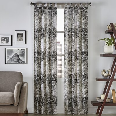 Brampton Tropical Nature/Floral Semi-Opaque Tab Top Curtain Panels