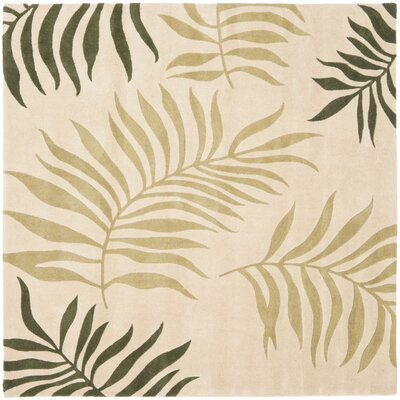 Gatewood Beige Leaves Area Rug Rug Size: Square 6'