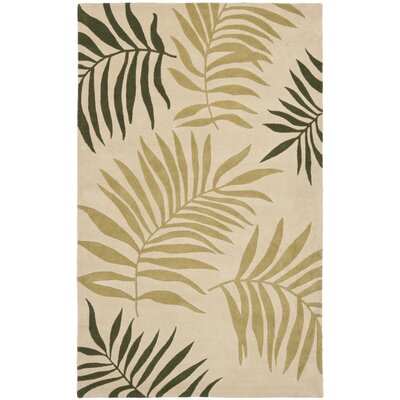 Gatewood Beige Leaves Area Rug Rug Size: Rectangle 36 x 56