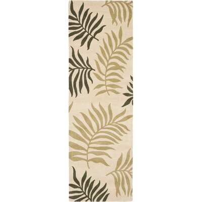 Gatewood Beige Leaves Area Rug Rug Size: Runner 2'6