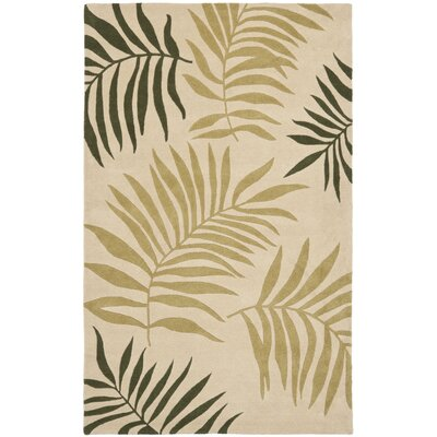 Gatewood Beige Leaves Area Rug Rug Size: 5 x 8
