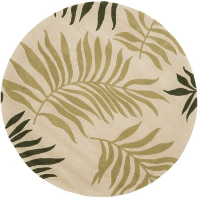 Gatewood Beige Leaves Area Rug Rug Size: Round 6
