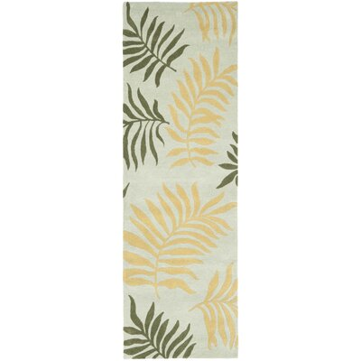 Felton Light Blue Leaves Area Rug Rug Size: Runner 26 x 8