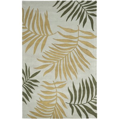 Gatewood Light Blue Leaves Area Rug Rug Size: 76 x 96