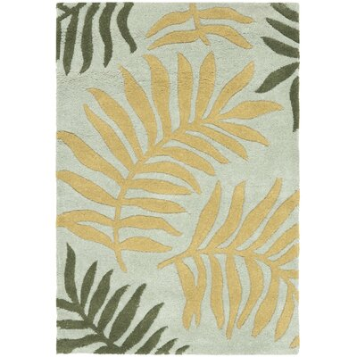 Gatewood Light Blue Leaves Area Rug Rug Size: Rectangle 36 x 56