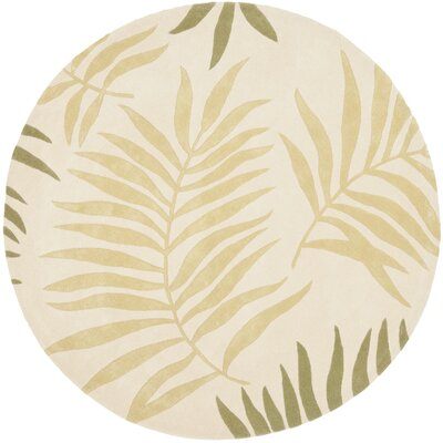 Gatewood Hand-Woven Wool Ivory Area Rug Rug Size: Round 6