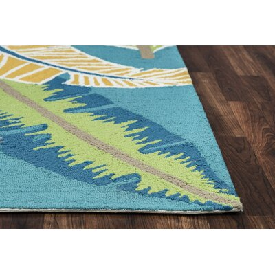 Mako Hand-Tufted Teal Indoor/Outdoor Area Rug Size: Round 8