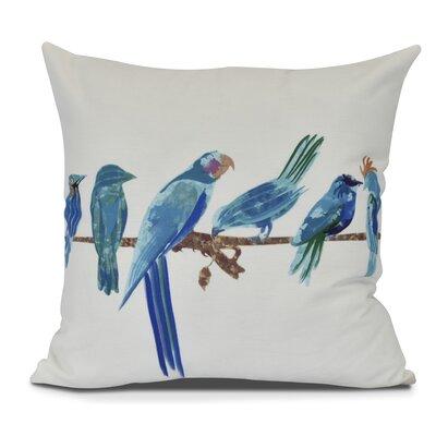 Shadybrook Morning Birds Animal Throw Pillow Color: Royal Blue, Size: 26 H x 26 W