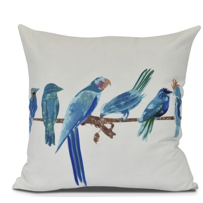 Shadybrook Morning Birds Animal Outdoor Throw Pillow Size: 16 H x 16 W, Color: Royal Blue