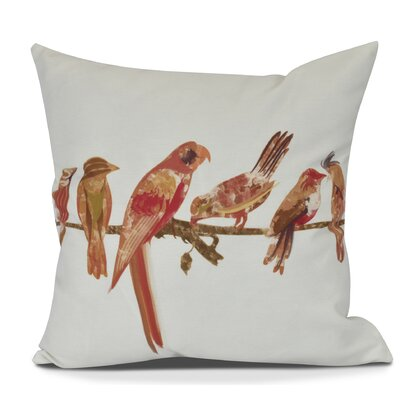 Shadybrook Morning Birds Animal Throw Pillow Size: 20 H x 20 W, Color: Orange