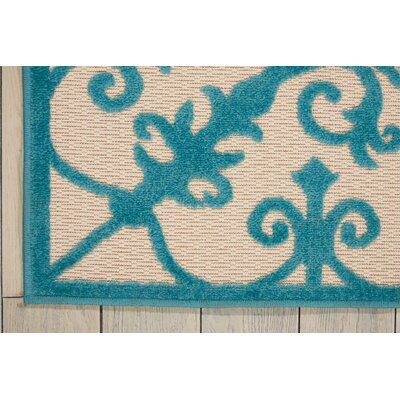Farley Blue/Cream Indoor/Outdoor Area Rug Rug Size: 53 x 75
