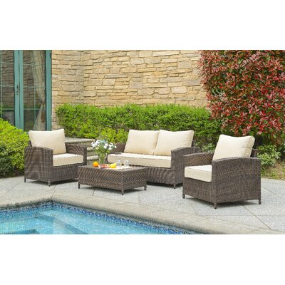 Marybeth 4 Piece Deep Seating Group with Cushion Fabric: Tan